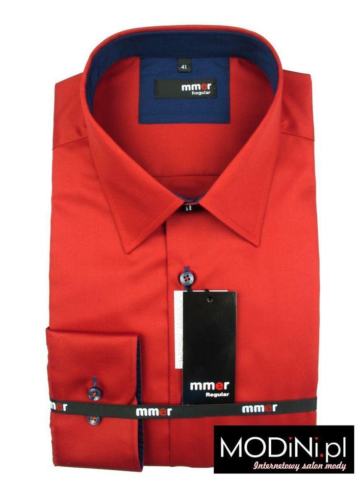Czerwona koszula męska z granatowymi kontrastami #koszula #shirt #red_shirt