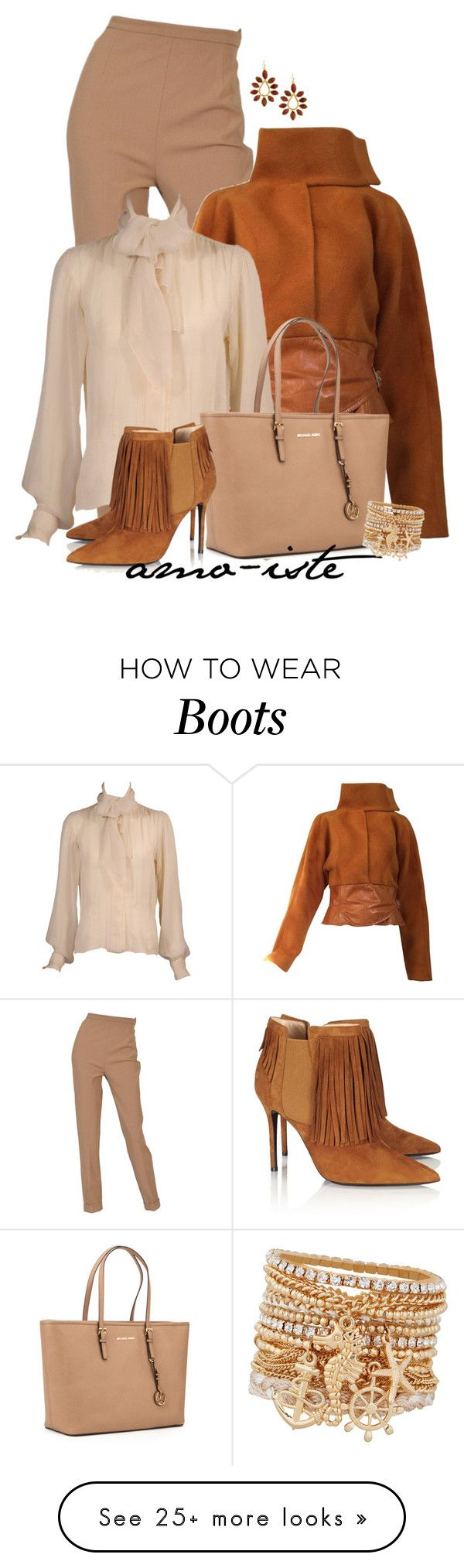 """Fringed Boots"" by amo-iste on Polyvore featuring Hermès, Yves Saint Laurent, MICHAEL Michael Kors, Aperlaï, Kendra Scott and ALDO"