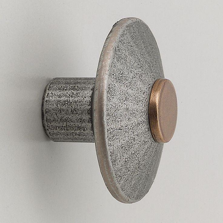 Tulsa gomb, ø 38 mm, mélység 25 mm, antik ón/ fényezett oldalak