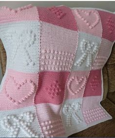 """001000Create This Unique Blanket Using The Bobble Stitch. The Bobble Stitch makes this blanket truly a unique item. Arrange the """"bobbles"""" in the heart pattern as shown or graph it out to make any unique design. The possibilities are endless! See a few of the possible variations for this method below. The instructions for this …"""