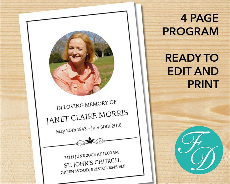 14 best Other images on Pinterest Funeral cards, Funeral order - free funeral program templates download