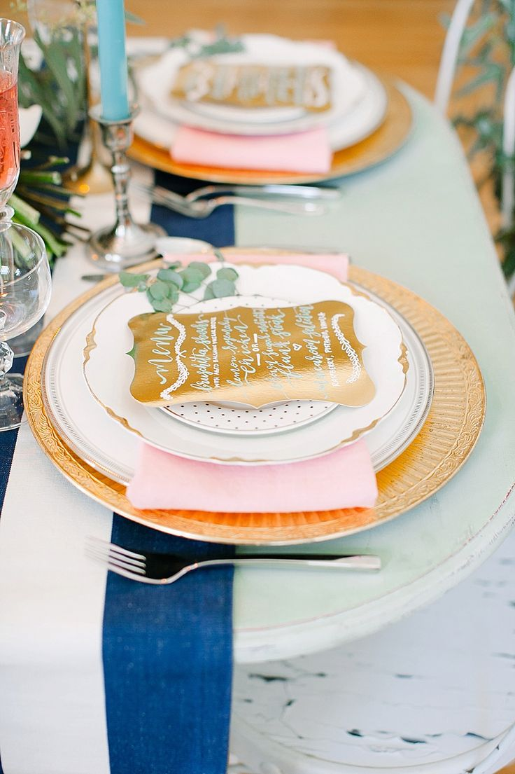 Preppy Vintage Wedding Inspiration Featured On Midwest Bride | Calligraphy by HOOKED Calligraphy | Photo Credit: Whitney Furst Photography | Minneapolis MN | calligraphy menus, modern calligraphy, preppy wedding ideas, metal wedding, spring wedding, mixed place settings