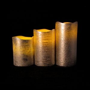 Lights.com | Flameless Candles | Holiday | Set of 3 Silver Metallic Candles with Auto Timer Option by LampLust