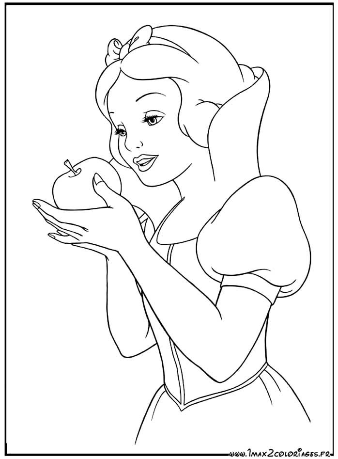 coloriage Blanche-Neige va t'elle croquer la pomme empoisonnée