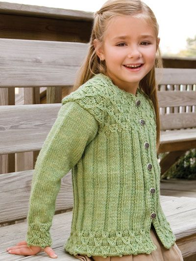 "Wickerwork cabling enhances the bottom, cuffs and yoke of this toasty ribbed cardigan. This e-pattern was originally published in the January 2011 issue of Creative Knitting magazine. Size: Includes girls 2 through 10. Made with medium (worsted) weight yarn, size 7 (4.5mm) 24"" circular and double-pointed needles, and size F (4mm) crochet hook. Skill Level: Intermediate"