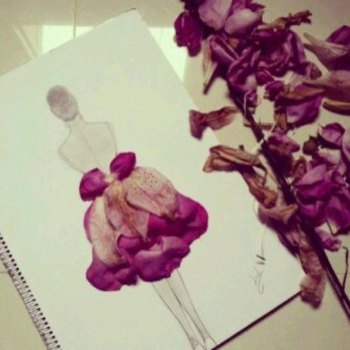 Creative Ideas for fashion design sketchbook work - rose petal skirt