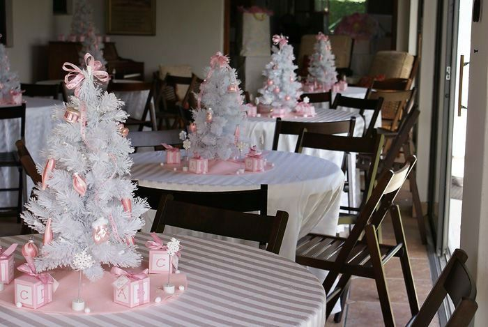 xmas tree decor idea....regular green tree color with pink/ivory/sparkly ornaments are great or the white trees with pink/sparkly ornaments are nice too. Different degrees of pink colors are pretty..doesnt necessarily need to all be baby pink