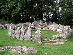 Din Lligwy, an Iron Age site near the east coast of Anglesey, Wales.