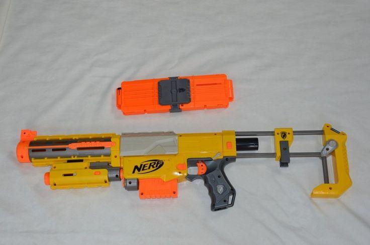 "Nerf Recon CS-6 Toy Gun Lot 23 Rounds Orange Foam Bullets 28"" Laser Ammo Clip #NERF"