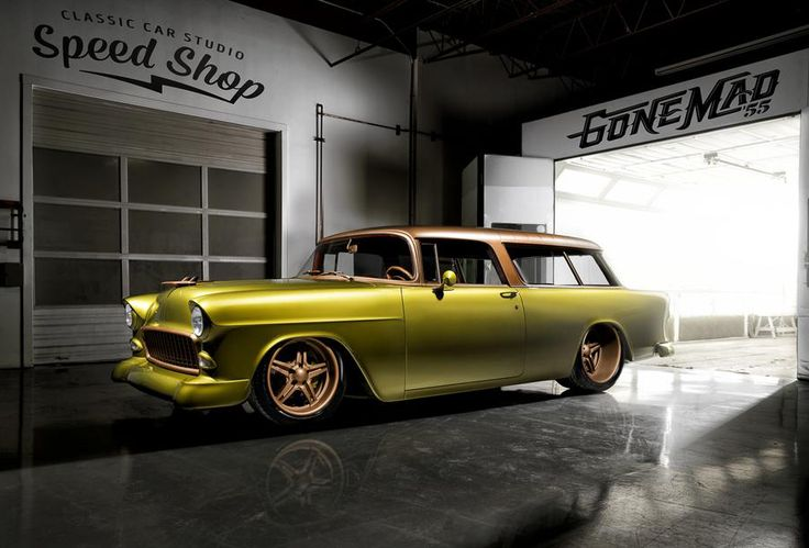 """Noah Alexander Shares This Cool Shot of His 1955 Chevy Nomad Along With a Very Impressive Build Sheet: """"We built this Nomad from the ground up, using donor body we sourced out of a gentleman's front yard in Arizona. The colors are crazy, and we ditched the chrome. It has a Roadster Shop chassis, Bowler trans, 509 W Motor, 625 HP/638 Ft lbs,  World/BMP 409 Aluminum Block w/Steel Billet Caps, Scat 4340 4.250"""" Stroke Steel Crank, Scat 4340 6.385"""" H-Beam Steel Rods, & More!"""
