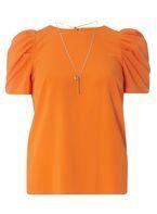Womens Orange Puff Sleeve Necklace Top- Orange