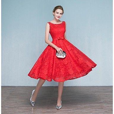 2017+φόρεμα+συμβαλλόμενων+μερών+κοκτέιλ+A-line+σέσουλα+τσάι-μήκους+δαντέλα+με+επιθήματα+/+beading+/+τόξο+(s)+/+δαντέλα+–+EUR+€+97.99