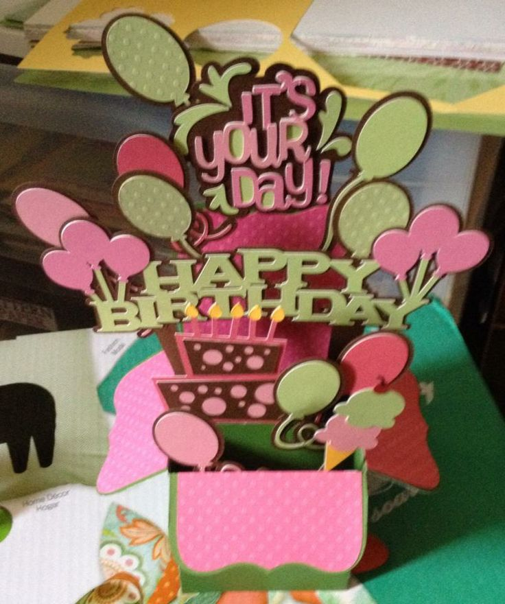 Birthday pop-up card in a box balloons w/words