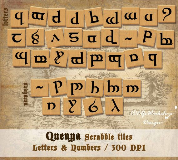 Printable Scrabble Quenya tiles   Item Description:  You will receive 2 zip files with classic quenya letters and quenya numbers PNG / 300 DPI / Total 26 png files. Dimensions of tiles: 2''x 2'' 300dpi  You can print them at home to play the popular scrabble game or to use the png files to your digital scrapbooking.