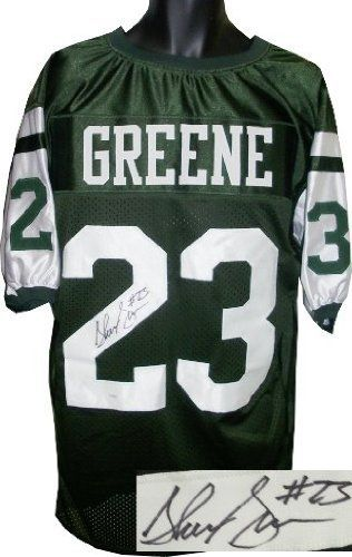 Shonn Greene Autographed/Hand Signed New York Jets Dark Green Prostyle Jersey- JSA Hologram by Hall of Fame Memorabilia. $101.95. The New York Jets knew what they wanted to do in the 3rd round of the 2009 NFL draft. That's why they traded third- fourth- and seventh-round picks just to move up and take Shonn Greene a running back from the University of Iowa. What a trade it was. Greene took over the #2 running back roll when Leon Washington got hurt during the season and has been ...