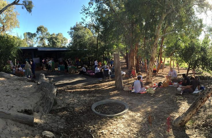Families enjoying the school grounds on Orana Day