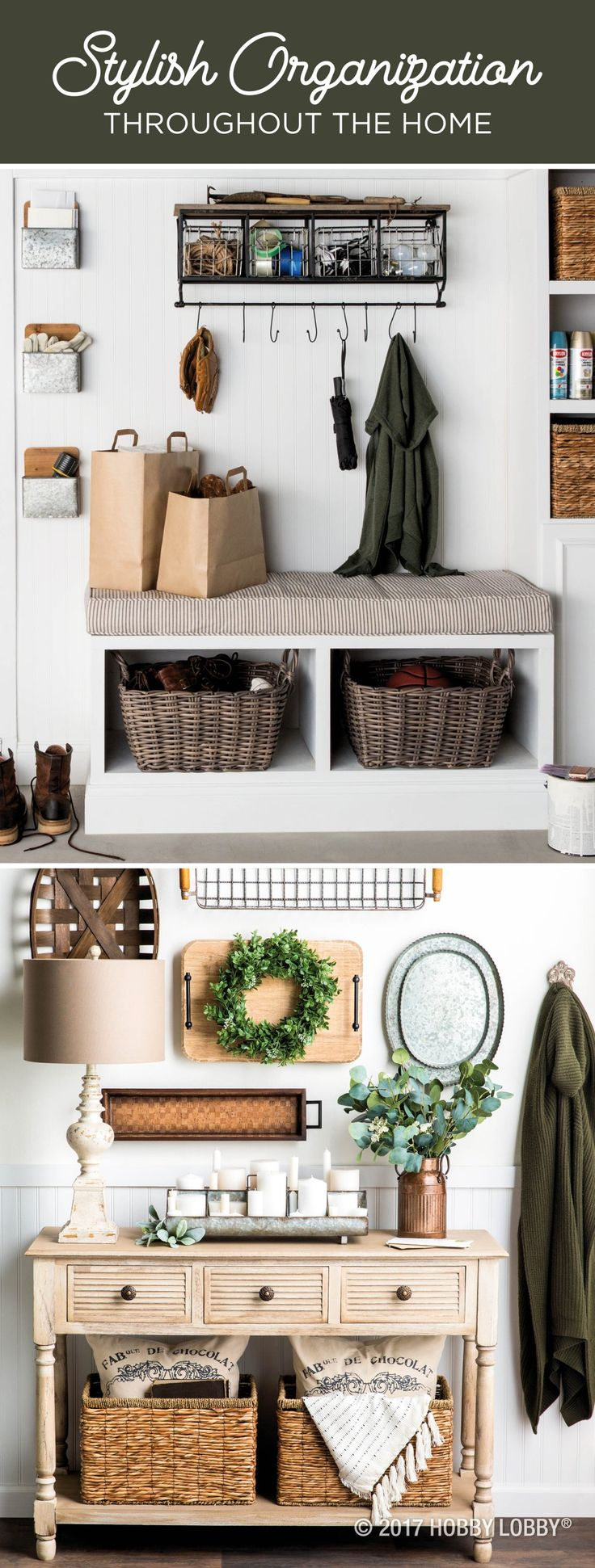 Use stylish bins, baskets and trays to take your home essentials from messy to chic!