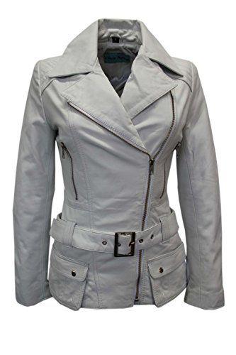 'FEMININE' Ladies WHITE Vintage WASHED Biker Style Designer Real Leather Jacket (UK 16/US 12)