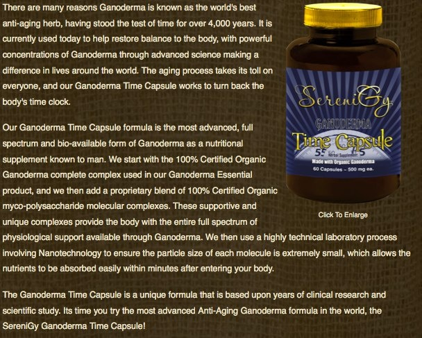 Time Capsules- containing 100% certified Organic Ganoderma.