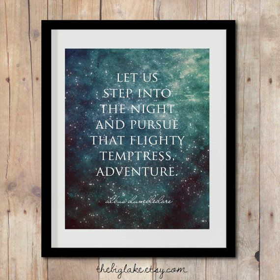 pursue adventure - harry potter quote - dumbledore - harry potter art - poster - jk rowling - literature - books