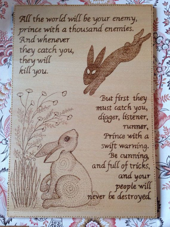 Watership Down Quote wood burning on maple by Theburnttree on Etsy