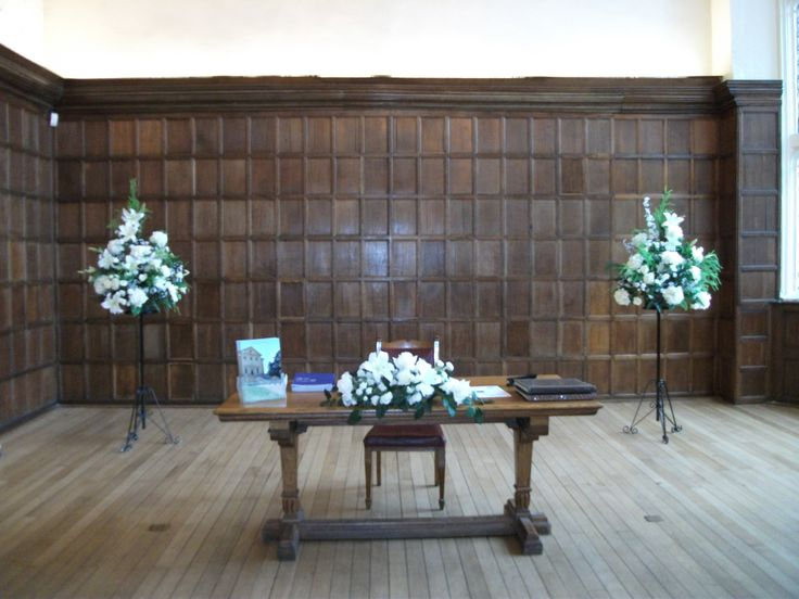 The Great Hall with silk arrangements available for all weddings and events.