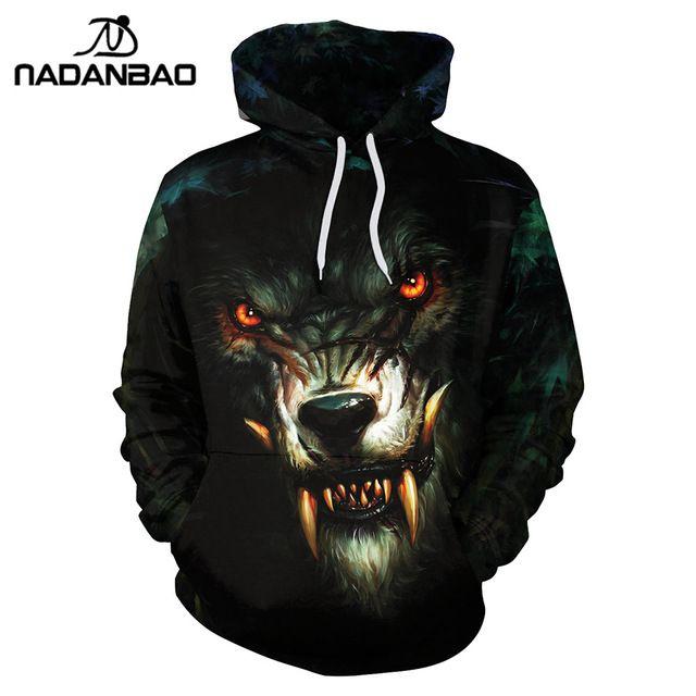 NADANBA New Style Hiphop Hoodies Animal Wolf 3D Printed Sharp Teeth Cool Fashion Women Hooded Sweatshirt Coats Casual Sportswear #Brand #nadanbao #sweaters #women_clothing #stylish_dresses #style #fashion