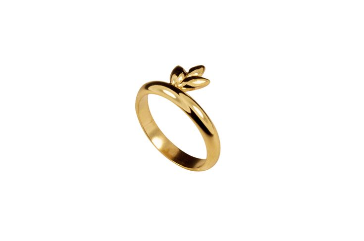 Foliage ring in gold plated silver