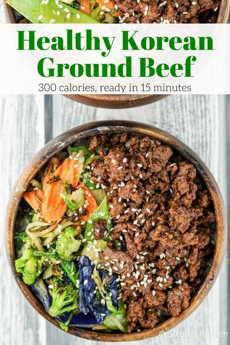 Healthy Korean Ground Beef With Vegetables Slender Kitchen Recipe Ground Beef Recipes Healthy Healthy Ground Beef Korean Ground Beef