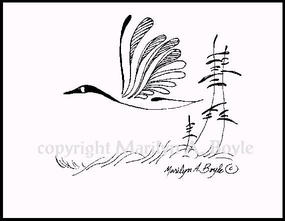 PRINT  INK DRAWING Canada Gooseflying wings by OriginalSandMore, $15.00, tattoo