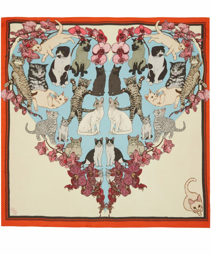 Silken Favours Red Precious Pussies Silk Scarf | Scarves by Silken Favours | Liberty.co.uk
