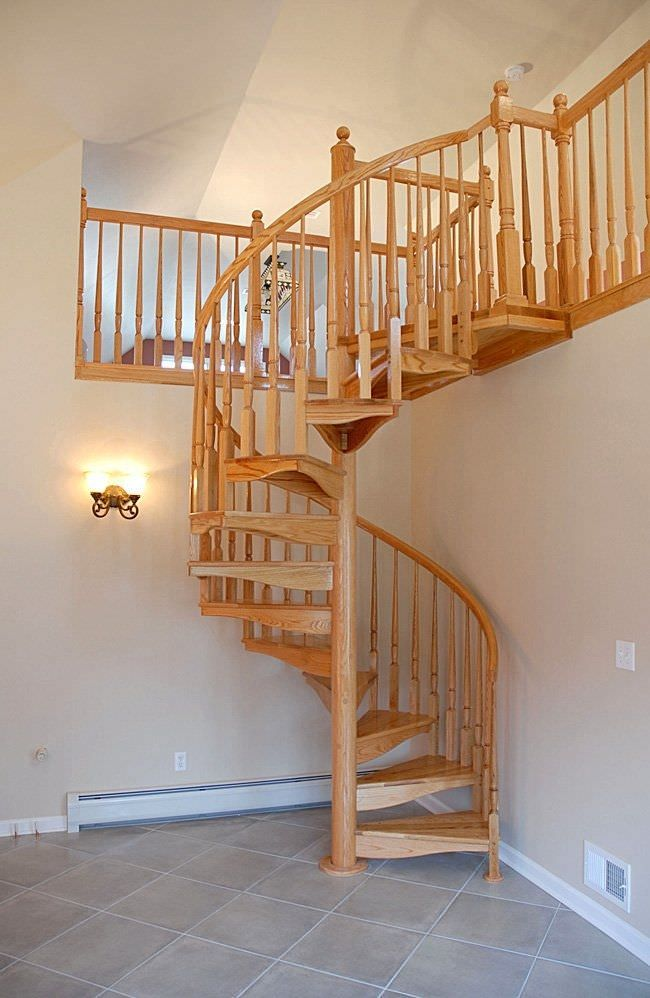 Spiral Staircase Wooden Steps Frame Without Risers