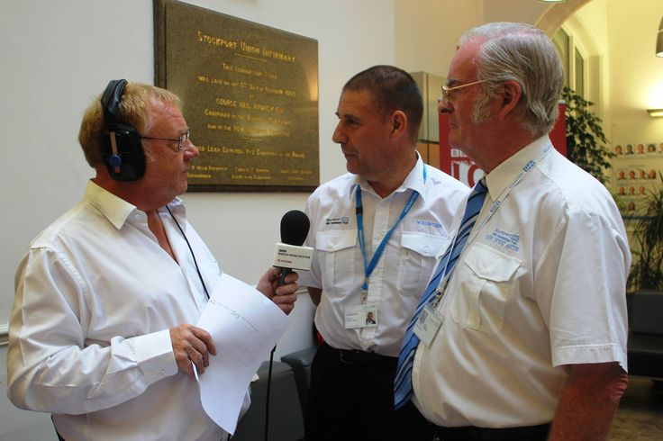 The BBC Radio Manchester show went well. Here's a photo of presenter Allan Beswick interviewing two of our hospital volunteers at Stepping Hill