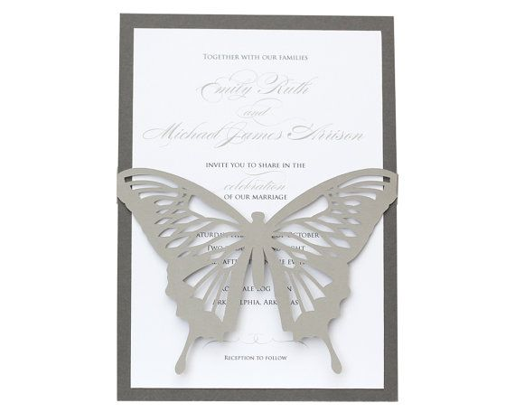 Butterfly Wedding Invitations  beautiful laser by TimelessPaper, $2.75