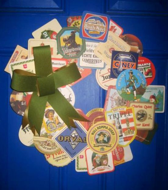 crafty ideas modern coasters. Door wreath made from assorted beer brewery cardboard coasters  130 best Beer Coasters Ideas Crafts Projects images on Pinterest