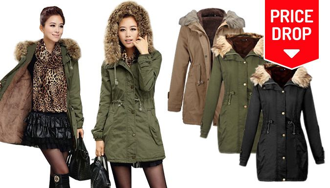 Buy: Faux Fur-Lined Hooded Parka - 3 Colours for just: £17.99 Wrap up for the chilly season in the Faux Fur-Lined Hooded Parka      Available in sizes S (UK 4-6), M (8-10), L (12-14), XL (16-18) and XXL (20-22)      Parka-style coat with a faux-fur hooded trim      Choose from green, black or khaki shades      Drawstring belt to cinch in the waist      Generous front pockets for phones, keys,...