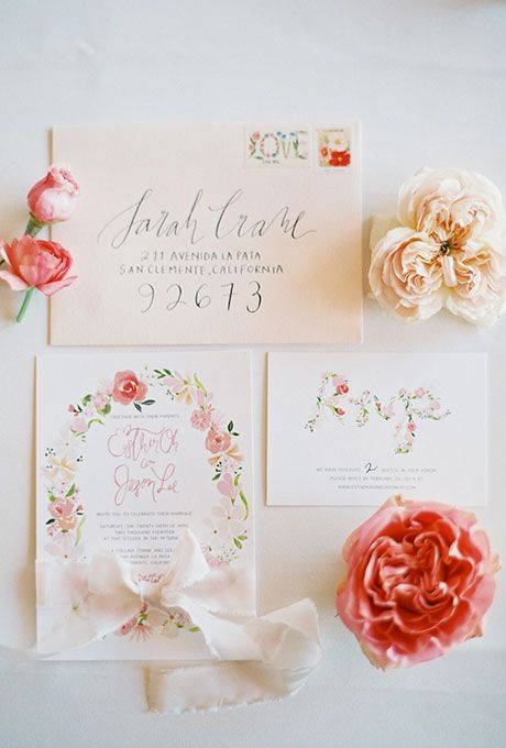 """Brides.com: . """"Romantic Garden"""" watercolor floral invitation suite with calligraphy writing, $1,200 for 100 invitations, The Romance Between"""