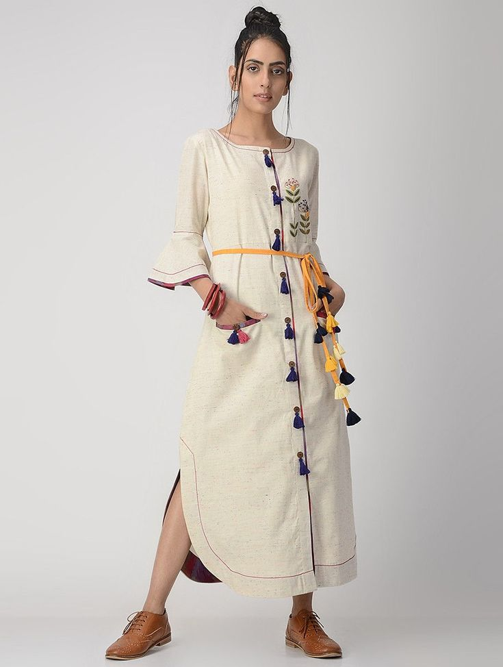 #Ivory #Hand-embroidered #Handwoven #Button-Down #Cotton Flax #Dress #women #dress