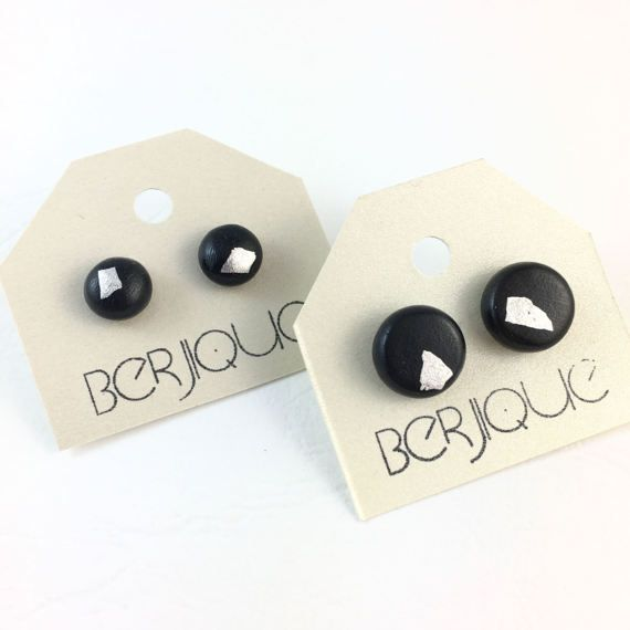 Black and silver polymer clay stud earrings on by Berjique on Etsy