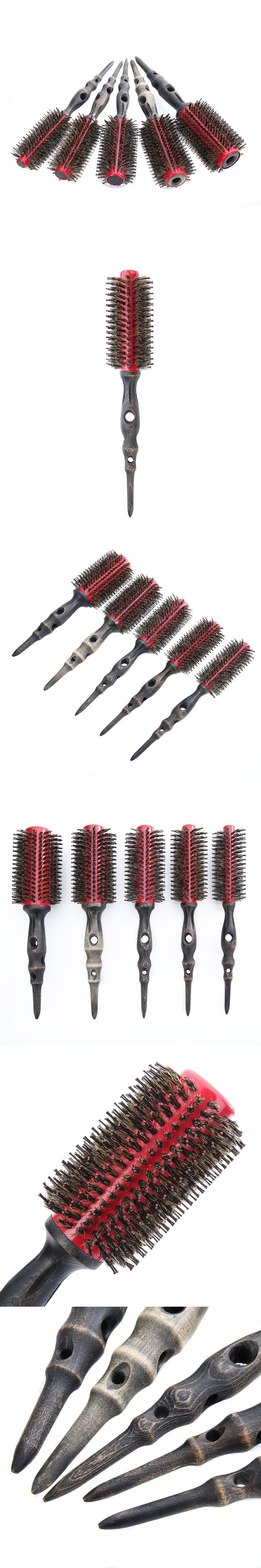 Mayitr New 5pcs/Set Round Bristle Brush Curly Hair Comb Brush Wood Handle Hair Brushes DIY Hairdressing Tools