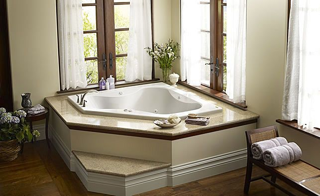 Built in corner bath tub primo 6060 jacuzzi home for Bathroom jacuzzi decor