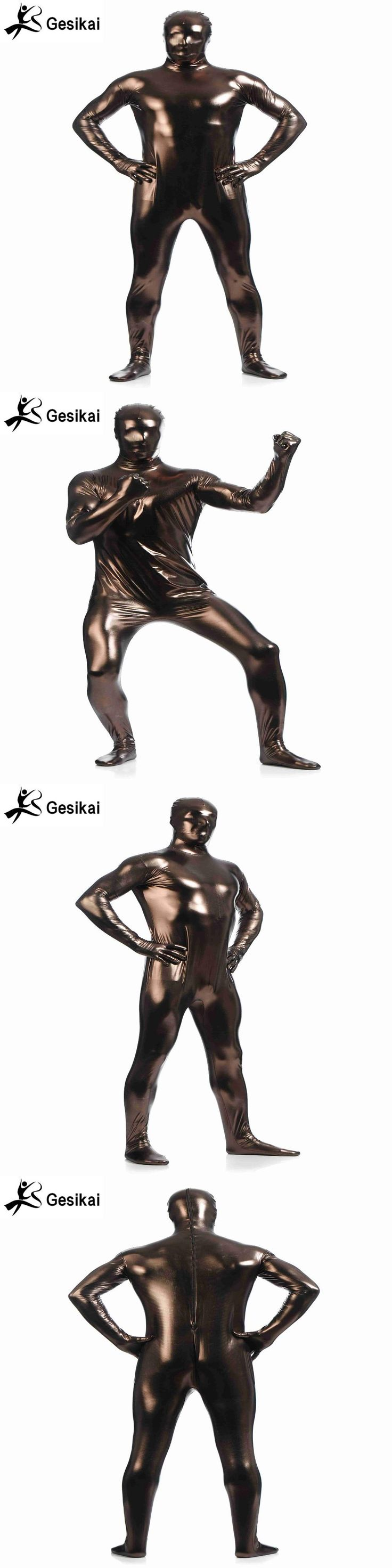 Shiny Metallic Unitard Zentai Suit All Sky Coffe Full Body Suit Tights Adult Unisex Catsuit Fancy Dress Halloween Party Costumes