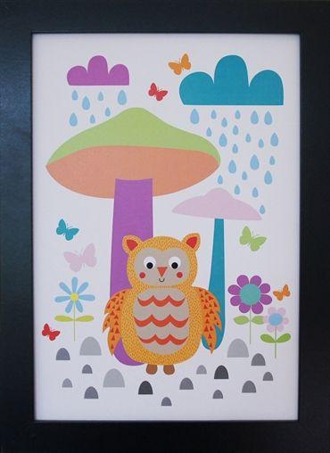 Print Owl under Mushrooms. Design Sara Vestberg