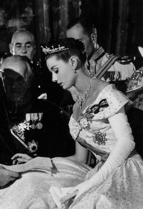 Audrey Hepburn on the set of Roman Holiday