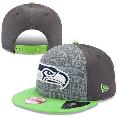 Mens New Era Graphite Seattle Seahawks 2014 NFL Draft 9FIFTY Snapback Hat I wanttt!!