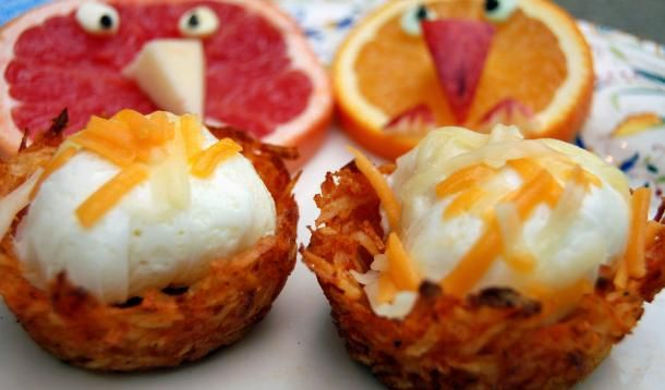 ... eggs. Remove potato nests. Sprinkle some cheddar in each nest, top