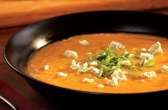 Pumpkin & pear soup with crumbled Stilton recipe