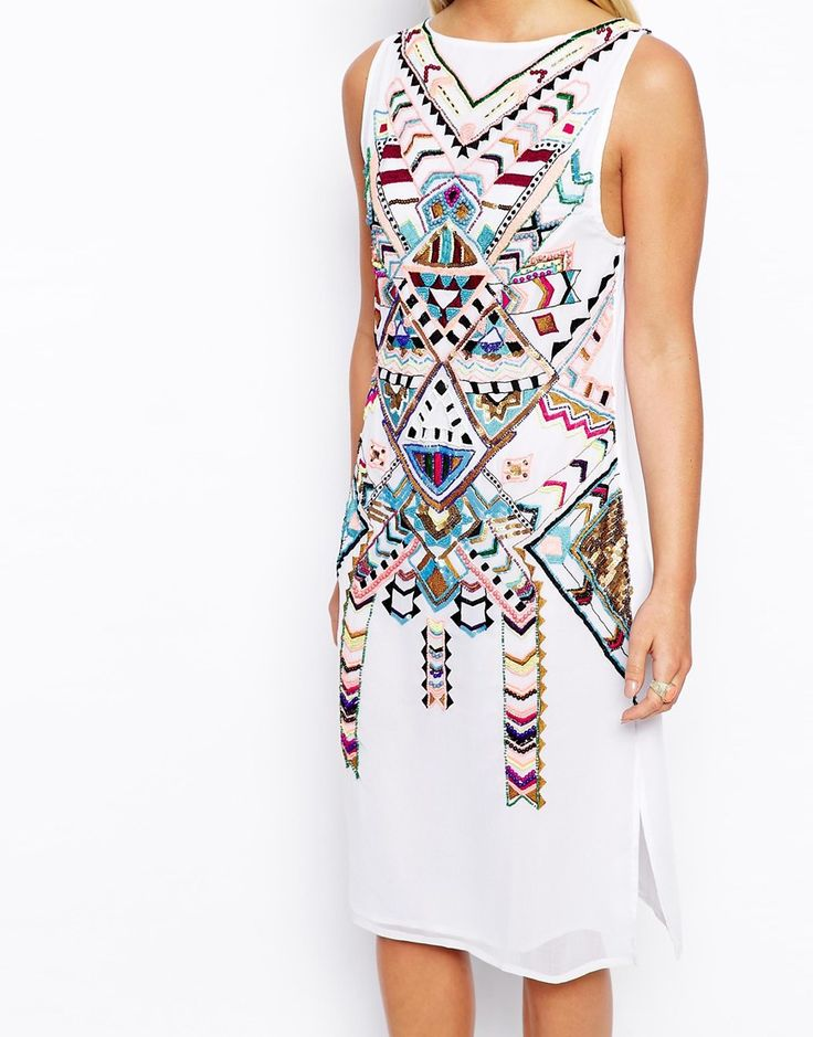 Image 3 of ASOS PETITE Exclusive Premium Aztec Embellished Midi Dress