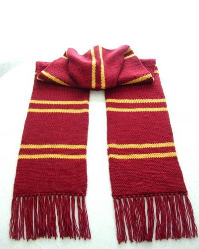 Gryffindor Scarf (Trapped Bar Style) - Double Knit or Knit tubular then laid flat so there is stockinette stitch on both sides.