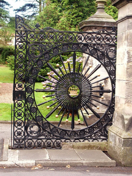 The Old Donibristle Estate Gates. These detailed wrought iron gates used to mark the entrance to the Earl of Moray's estate at Dovecot Park, Aberdour